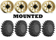 Kit 4 Sti Outback Max Tires 32x10-14 On Method 410 Bead Grip Gold Wheels Can