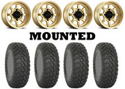 Kit 4 System 3 Rt320 Tires 35x9.5-15 On Method 410 Bead Grip Gold Wheels Can