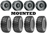 Kit 4 Maxxis Rampage Tires 32x10-15 On Method 411 Bead Grip Matte Black Fxt