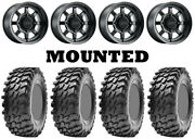 Kit 4 Maxxis Rampage Tires 32x10-15 On Method 410 Bead Grip Matte Black Fxt