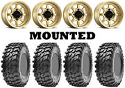 Kit 4 Maxxis Rampage Tires 32x10-15 On Method 410 Bead Grip Gold Wheels Fxt