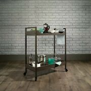 Storage Cart With Wheels Beverage Serving Tray Smoked Oak Finish Wood Rustic Bar