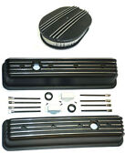 Chevy Black Aluminum Tall Finned Valve Covers And 12 Air Cleaner Kit Sbc 350