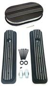 Chevy Black Aluminum Short Finned Valve Covers And 15 Air Cleaner Kit Sbc Vortec