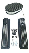 Chevy Black Aluminum Short Finned Valve Covers And 12 Finned Air Cleaner Kit Sbc