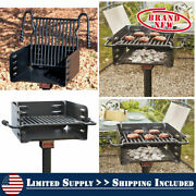 Pilot Rock Heavy-duty 3/16 Plate Steel Park Grill With Handle Adjustable Height