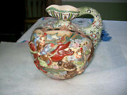 Large Japanese Moriage Satsuma Jug With Warriors In High Relief Figures