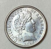 1912 Barber Liberty Silver Dime Absolutely Gorgeous Blast White