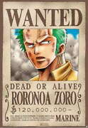 317238 One Piece Roronoa Zoro Wanted Dead Or Alive Anime Wall Print Poster Ca