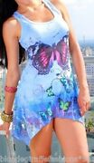 Blue Multi Butterfly Sublimation Lace Side Racerback Sleeveless Tank Top