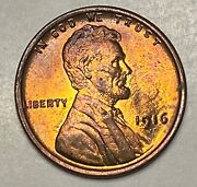 1916 1c Lincoln Wheat Copper One Cent Penny Red