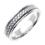 Mark Broumand Menand039s Hand Braided Wedding Band In Platinum 5.5mm