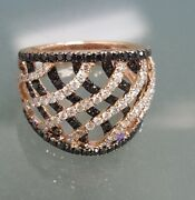 Prima Ny 1.82ctw Black And White Diamond 14k Rose Gold Wide Cocktail Ring 4005