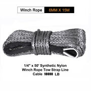 1/4and039and039x50and039 Synthetic Winch Rope Line Grey Recovery Cable 10000lbs 4wd Suv Pickup
