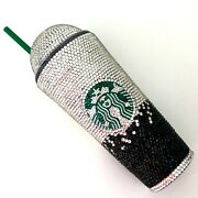 Custom Starbucks Coffee Tumbler Cup Clear Black Ombre Bling Cup With Straw