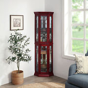 Lorona Floor Standing 5 Sided Lighted Corner Curio Cabinet 2 Colors