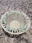 Beleek Irish ☘️ Gorgeous Weaved Basket With Applied Flowers On The Rim Mint