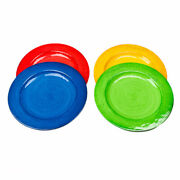Turkish Tiles Solid Red Green Blue Yellow Melamine Dinner Plates Set Of 4