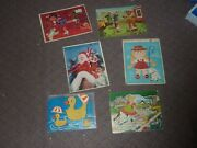 Lot Of 6 Vintage Tray Puzzles Whitman/fuzzy Wuzzy/built Rite/complete 1960s Rare