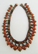 Late 19th C Chinese Gold Mounted Carnelian, Obsidian And Silver Gilt Silk Necklace