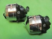 Lot Of 2 Shakespeare Bank Stik Spincast Reels Spool With 14lb Line.