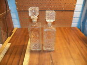 Vintage Pair Of Crystal Glass Liquor Decanters - Non-matching