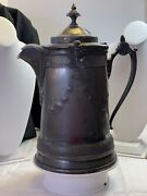 Antique Reed And Barton Silver Plate Pitcher Ice Water Tankard W/ Ceramic Insert