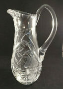 Vintage Cut Crystal Clear Glass Pitcher W/grape Motif Very Beautiful And Heavy