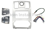 Silver Aftermarket Radio Stereo Double Din Dash Kit Wire Harness Antenna Adapter