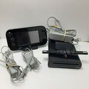 Nintendo Wii U Deluxe 32gb Black Console With Sensor Bar Charging Cradle Tested