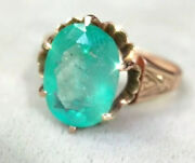 3ct Glowing Green Emerald Ring In A 10k Rose Gold Victorian Ring Size 6.75