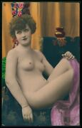 French Nude Woman Cool On Sofa Riginal Old 1920s Tinted Color Photo Postcard