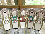 Angels Christmas Decor Wooden 5 Fold Country Mantle Farmhouse Screen 20 X 12