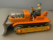 Vintage 1960and039s T.n Handy Hank No.112 Bulldozer Battery Powered Tin Toy Japan