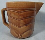 Small 3 Cup Vintage Stepped Pattern Brown Glazed Art Pottery Pitcher