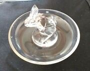 R Lalique Centred Rabbit Ring /pin Tray What A Find Wow