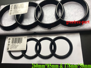 Audi Tt Black Gloss Front And Boot Rings Logo Emblem Set 26085mm And17857mm