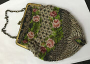 Antique Vintage Micro Bead Beaded Petit Point Evening Bag Purse Floral Roses