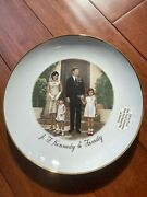 Original Rare Jfk Kennedy Family Collector Plate Gold Rim And Back Unique Jackieandnbsp