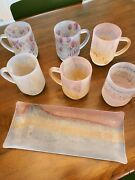 Israeli Rueven Glass Mugs And Serving Tray, Hand Painted.