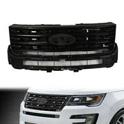 Front Bumper Grill Grille Glossy Black Fit For 2016-2017 Ford Explorer 4-door