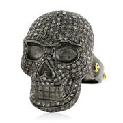 Natural 3.76ct Diamond Micro Pave Silver Skull Ring 14k Gold Antique Jewelry