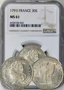 France - 1791i Limoges 30 Sol Ngc Ms-61. Choice Unc. Rare