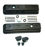Small Block Chevy Black Aluminum Tall Finned Valve Covers + Breather And Pcv Sbc