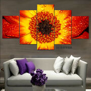Red Flaming Dewy Flower 5 Pcs Hd Art Poster Wall Home Decor Canvas Print