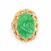 Carved Jade Ring Vintage 14k Yellow Gold Large Oval Cocktail Jewelry Sz 6.25