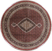 8and039 Round Traditional Wool And Silk Hand Knotted Rug - W1089