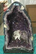 Amethyst Cathedral Geode With Selenite Rose Inside 25.5 Kg. From Brazil