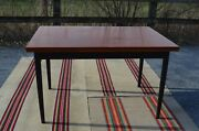 A Nice Vintage Danish Modern Farstrup Teak Dining Table With Black Legs 1960andrsquos