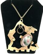 Abstract 14k Gold Pendant Necklace W/ Large Thomsonite Stone Antiques Roadshow